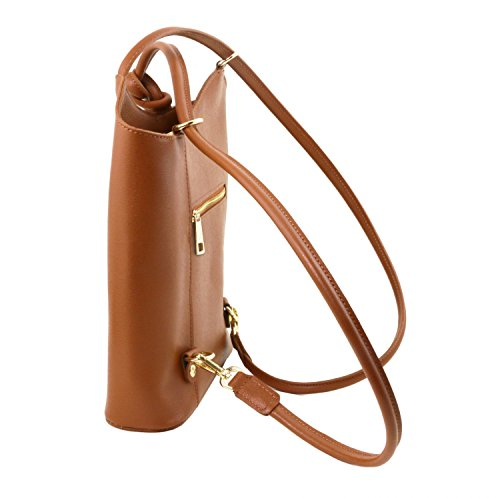 Tuscany Leather Patty Borsa donna convertibile a zaino in pelle Saffiano Testa di Moro Cognac