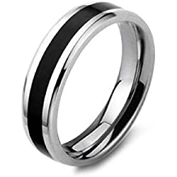 Aaishwarya Stainless Steel Black Bling Band Ring For Men/Boys