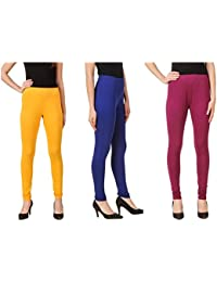 Svadhaa Royal Blue Yellow Wine Cotton Lycra Leggings(Pack Of 3)