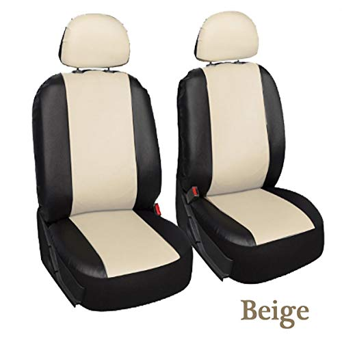 PeroFors 4Pcs/Set Pu Leder Car Seat Detachable Cover Front Bucket Full Set Chair Protector Universal-Beige