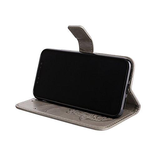 EKINHUI Case Cover Geprägte Palme Blumenmuster Retro PU Leder Geldbörse Tasche Tasche mit Card Slots und Lanyard für iPhone X ( Color : Pink ) Gray