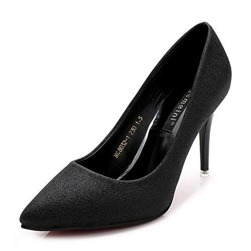 AalarDom Damen Schließen Zehe Weiches Material Rein Stiletto Spitz Zehe Pumps Schuhe Schwarz-Pailletten