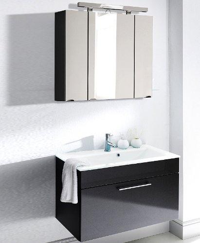 #Badezimmer Waschplatz Set Hochglanz anthrazit Badmöbel Waschtisch Spiegelschrank#
