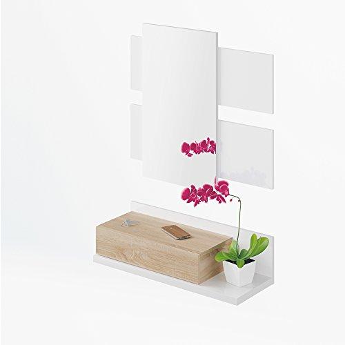 Habitdesign 0f6742bo - corridoio con cassetto + specchio, quercia canadese e bianco brillante, misure: 75 x 116 x 29 cm di profondità