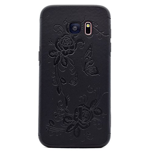 inShang Coque Samsung Galaxy S7 Edge Housse Etui Plastique Case ductile TPU Black butterfly flower