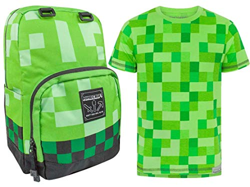 Minecraft Creeper Backpack and Various Styles T-Shirt's Bundle Gift Set