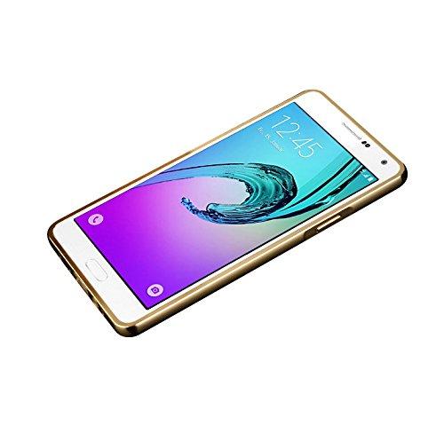 Minto Luxus Aluminium Metall Spiegelhülle Schutzhülle + Panzerglasfolie iPhone 5 / 5S / SE Spiegel PC Rückseite Case Cover Hülle Gold + Metall Bumper Rahmen Echtglas Hartglas Schutzfolie 9H Gold -a3(2016)