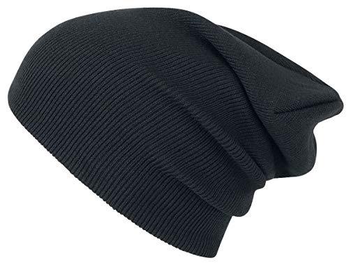 Beanie Basic Flap Long Version Bonnet Noir
