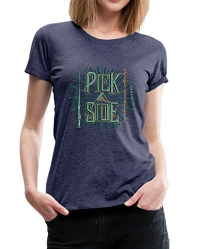Spreadshirt Phantastische Tierwesen Pick A Side Zauberstäbe Frauen Premium T-Shirt, L (40), Navy meliert