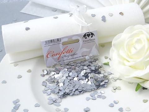 14g Streudeko Konfetti Hochzeit EinsSein® Herz klein silber metallisch Tischdeko Hochzeit