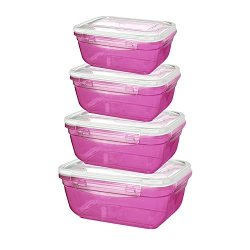 Grizzly set di contenitori salvafreschezza - barattoli con coperchio 100% aria e impermeabile rettangolare berry