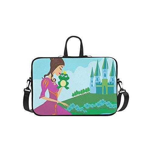 Schöne Dame Kisses A Frog Pattern Aktentasche Laptoptasche Messenger Schultertasche Crossbody Handtasche für Geschäftsreisen