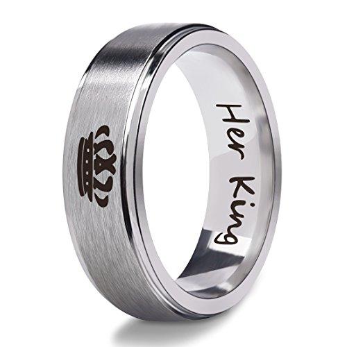 Männer Ring-amethyst (Classic Her King Edelstahl Ring für Männer Frauen Silber Biker Band 6mm)