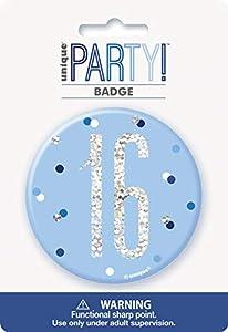 Unique Party 83517 - Insignia de cumpleaños, color azul y plateado