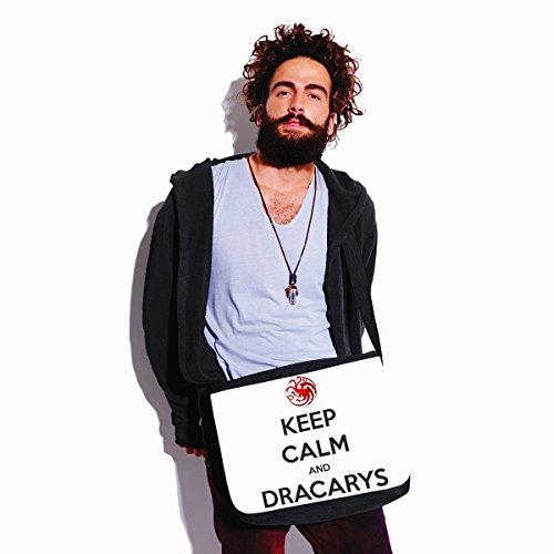 Borsa a tracolla Game of Thrones Keep calm and Dracarys - Dracarys - il trono di spade - serie tv- dimensioni 35x30x11,5 cm Bianco