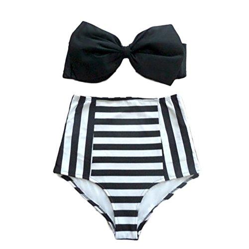 DELEY Donne Sexy Con Fiocchi Elegante Vita Alta Leopardo Striscia Bikini Costumi Da Bagno Swimwear Colore 3