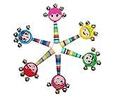 Ranvi vívida sonrisa de color mango de arco iris campanas de madera cascabel palillo coctelera sonajero bebé niños niños juguetes musicales, 4 piezas, color al azar.