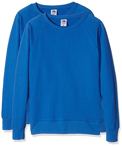Fruit of the Loom Ladies Lightweight Raglan Sweat, Blouse Femme Bleu (Royal Blue)