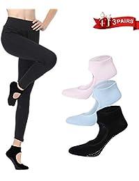 LaLaAreal Calcetines Pilates Yoga Antideslizantes Traspirable Mujer para  Barra Ballet Danza (3 Par) 6716982b0f6e