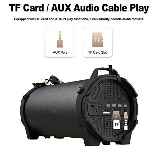 Tragbare drahtlose Bluetooth-Lautsprecher, Bluetooth Lautsprecher Outdoor Wireless Soundbox Stereo Bass Subwoofer Unterstützung FM Radio TF U-Laufwerk AUX IN w/Mic Strap,1