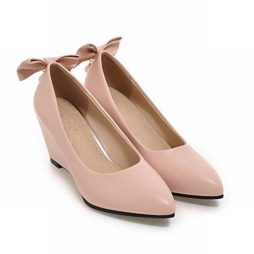 Mee Shoes Damen Keilabsatz mit Schleife Strass Pumps Pink