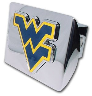 West Virginia Mountaineers Premium Chrome Metal Trailer Hitch Cover with Navy & Yellow Logo by