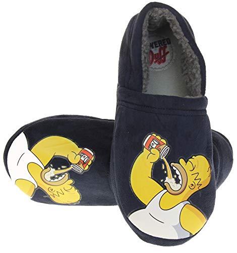 Die Simpsons Herren Blau Homer Duff Komfort Vlies Neuheit Hausschuhe Blau EU 41-42
