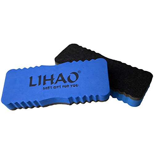 LIHAO 2 pack Whiteboard Eraser Magnetic Dry Wipe Cleaner Eraser (Blue)