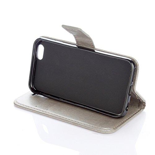 EKINHUI Case Cover Neue Art und Weise Normallack-Mappen-Kasten PU-lederner Buch-Art-Schlag-Standplatz-Fall mit Kartenschlitzen u. Lanyard u. Magnetischer Verschluss für IPhone 6 Plus u. 6s Plus ( Colo Gray