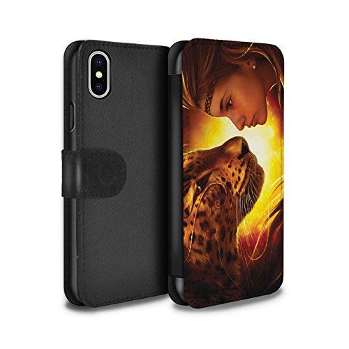 Offiziell Elena Dudina PU-Leder Hülle/Case/Tasche/Cover für Apple iPhone X/10 / Waldpaar/Hase Muster / Die Tiere Kollektion Angesicht Angesicht/Tiger