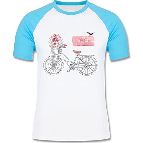 Vintage - Fahrrad Take a ride Watercolour - zweifarbiges Baseballshirt für Männer Weiß/Türkis