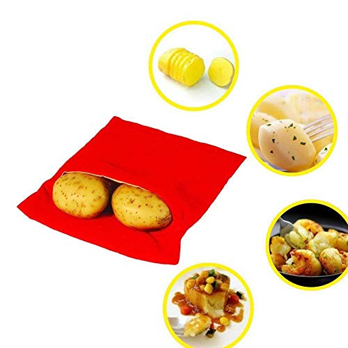 Hihey 2Pcs Mikrowelle Kartoffeln Tasche,JanTeel Kartoffel Mikrowelle gebackene beutel Mikrowellenherd Kochtasche,4 Minuten Kartoffelbeutel Express Tasche Backen Werkzeug