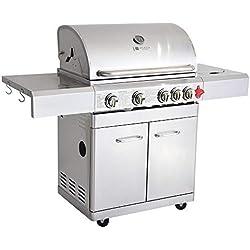 GREADEN- BBQ Grill Barbecue À Gaz INOX PHÉNIX - 4 BRÛLEURS+1 FEU LATÉRAL et Thermomètre, Puissance Totale 17.5KW, 1 Grille + 1 plancha offerts (Phénix)