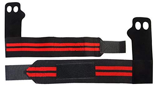 Spider Sport Leder Handschuhe Palm Grips Unterstützung Crossfit Gymnastik Palm Schutz und Sicherheit mit Elastic Wrist Wraps?Ein Paar, Herren Kinder damen, schwarz, M