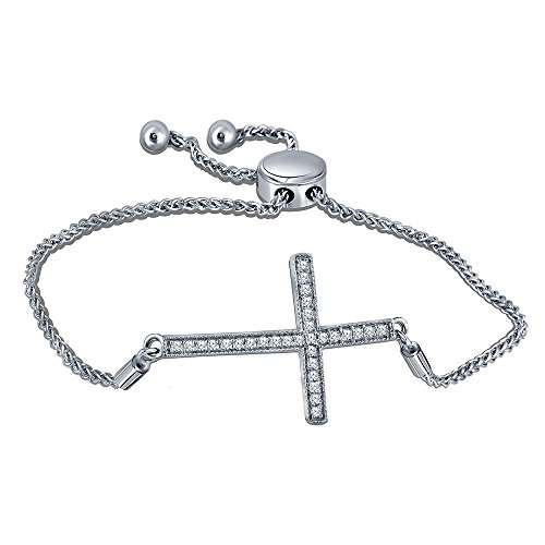025-cttw-round-white-diamond-rhodium-over-925-sterling-silver-cross-bolo-bracelet