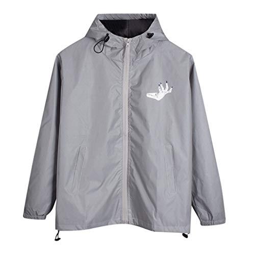 MAYOGO Reflektierende Jacke Herren/Damen Pärchen Jacken Reflektor Jacke Gray Harajuku Windbreaker Winterjacken Hooded Reflective Streetwear Coat mit Kapuze