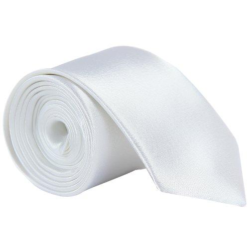 CellDeal- Cravate Homme Mince De Couleur Solide Pour Mariage Blanc