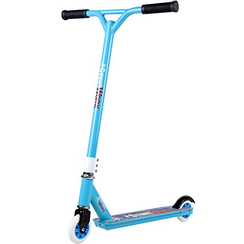 Deuba Stunt Scooter | bis 100kg | Aluminium | Kickscooter ABEC 7 Kugellager | 360° Freestyle Roller | blau
