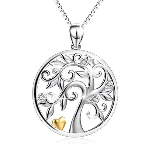 Baum des Lebens Halskette 925 Sterling Silber Zirkonia Yggdrasil Anhänger Halskette für Frauen 45,7 cm