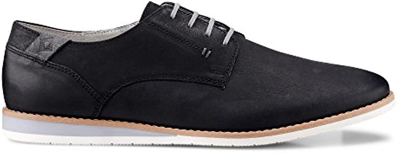 Cox Herren Herren Freizeit Schnürer  Schwarze Leder Schuhe mit Sportlich legerem Look Schwarz Leder 44