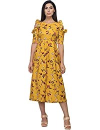 51bb7bfff9e BAABUL Yellow Floral Multicolor Print Casual Crepe Calf Length Jumpsuit for  Women