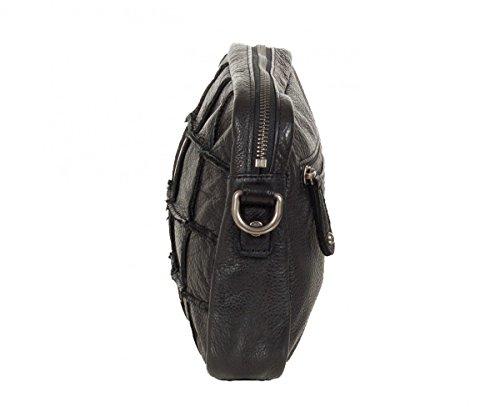 FREDsBRUDER sac bandoulière petits crânes carrés cuir ciré doux FS16 (21x16x5cm) Black (Schwarz)