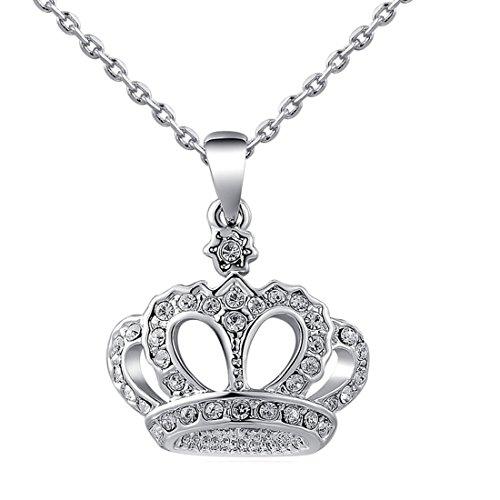 Las mujeres encanto Jewerly colgante chapado en platino elegante lujo corona cadena collar