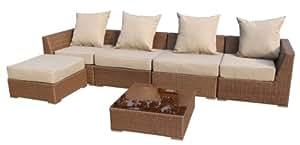 Ambientehome Polyrattan Loungegruppe Sitzgruppe Somalia, braun, 6-teiliges Set
