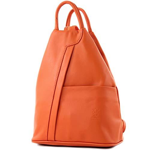 ital Damen Rucksack Tasche Nappaleder, Farbe:Orange ()