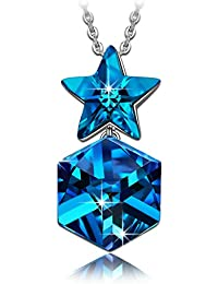 """NINASUN """"Stelle Scintillanti"""" 925 Argento Sterlina Collana Pendente Donna [Bermuda Blue] Realizzato con Cristalli Swarovski, Senza Allergeni"""