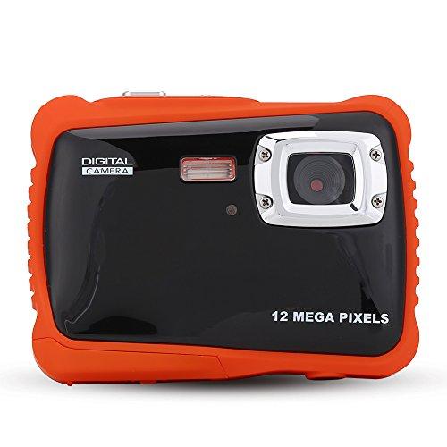Kinder Digital Kamera, Kinder Wasserdichte Digitalkamera Mini Action Camcorder Spielzeug und Geschenk für Kinder Orange & Schwarz