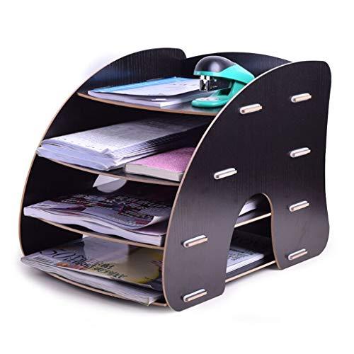 4-Schicht-hölzerne gebogene Akten-Halter-Speicher-Kabinett-Speicher-Korb-Regal-Bücherregal-Informations-Rahmen-Datei-Klassifizierungs-Gestell (Color : B)
