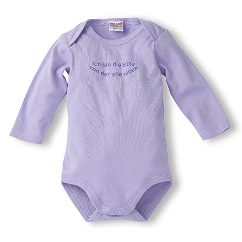 Schnizler Baby - Mädchen Body Langarm mit Spruch: Ich bin die Süße von der alle reden, Gr. 74 (Herstellergröße: 74/80), Violett (flieder 10)