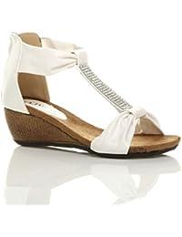 Donna tacco medio zeppa velcro fiore comode per camminare casual sandali numero 8 41